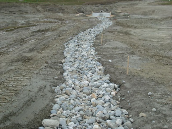 Rock lined channel